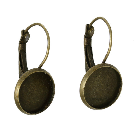 10 (5 pairs) bronze cabochon bezel setting lever back earring components, fits 12mm round inside tray fin0482a