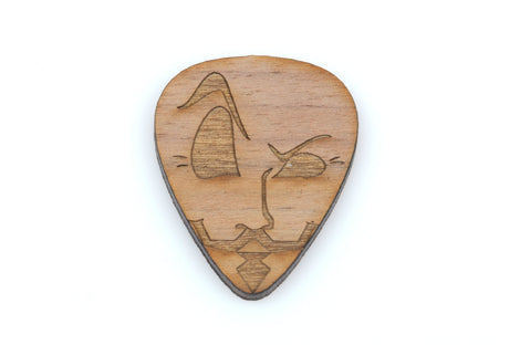 1 Dastardly FACE with MUSTACHE Guitar Pick, Laser Cut Cabochon, Laser Engraved Wood, Brooch Supplies, Sustainable Wood Supplies, lcw0013