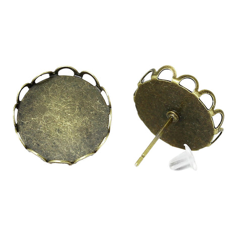 10 Antiqued Bronze Metal POST Earrings for Cabochons  (5 pairs)  fits round 14mm cabochons, scalloped bezel, fin0489