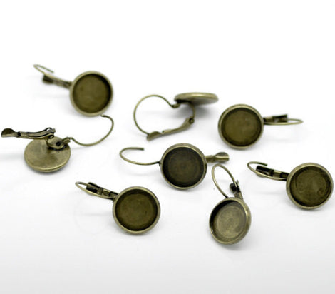 10 (5 pairs) bronze cabochon bezel setting lever back earring components, fits 12mm round inside tray fin0490