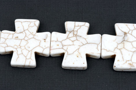 35mm WHITE MALTESE Cross Beads, Magnesite Howlite, full strand, 11 beads  how0406