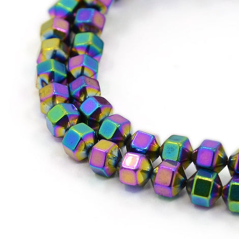 6mm Faceted Hexagon Hematite Loose Beads, RAINBOW titanium plated, 6x4mm, ghe0107