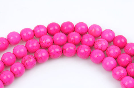 1 strand Synthetic Howlite Stone Beads ROUND Ball 10mm, HOT PINK how0193