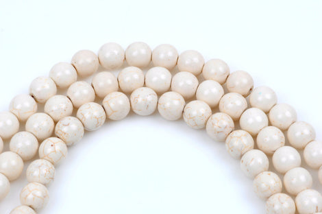 1 strand Synthetic Howlite Stone Beads ROUND Ball 12mm, IVORY WHITE how0272