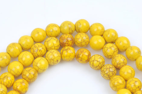 1 strand Synthetic Howlite Stone Beads ROUND Ball 12mm, LEMON YELLOW how0270