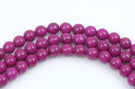 12mm FUCHSIA PINK PURPLE Howlite Gemstone Beads, full strand,  how0409