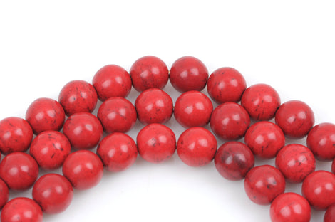 8 Large Howlite Stone Beads ROUND Ball 16mm, BRIGHT RED how0244