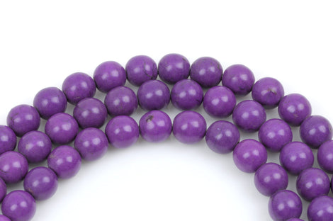 8 Large Howlite Stone Beads ROUND Ball 16mm, GRAPE PURPLE how0247
