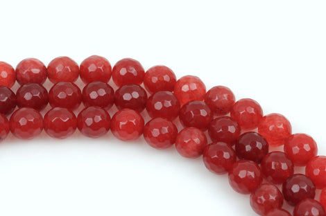 8mm Round Dyed Faceted Pastel Dark RUBY RED JADE Gemstone Beads, full strand, gjd0005