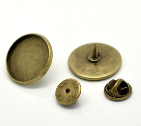 "10 Bronze Metal TIE TACK Pins, brooch pins, fits 20mm (3/4"") round cabochons bezel tray, clutch back pins, fin0496"