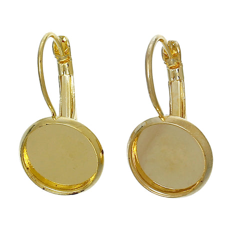 10 (5 pairs) bright gold plated cabochon bezel setting lever back earring components, fits 12mm round inside tray fin0498