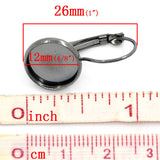 10 (5 pairs) gunmetal cabochon bezel setting lever back earring components, fits 12mm round inside tray fin0505