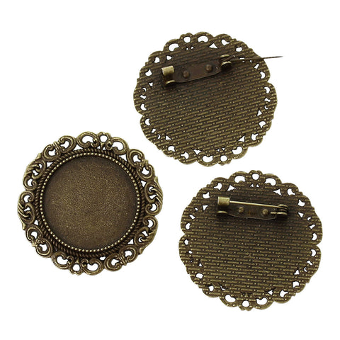 "10 Antiqued Bronze Brooch Pin with Bezel Cabochon Tray, 1"" Bezel Tray (fits 25mm) pin blanks, pin0086"