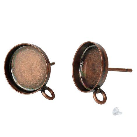 10 (5 pairs) COPPER brass cabochon bezel setting earring post components, with loop, fits 12mm round inside bezel tray  fin0501