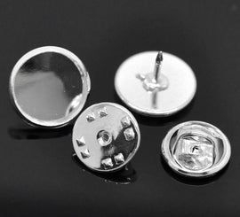"10 Bright Silver Plated Metal TIE TACK Pins, brooch pins, fits 12mm (1/2"") round cabochons bezel tray, clutch back pins, fin0507"