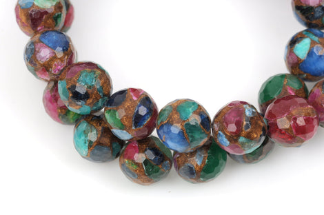 8mm MIXED Green Blue Red Composite Golden Quartz Round Beads, faceted, 1 strand, gmx0035