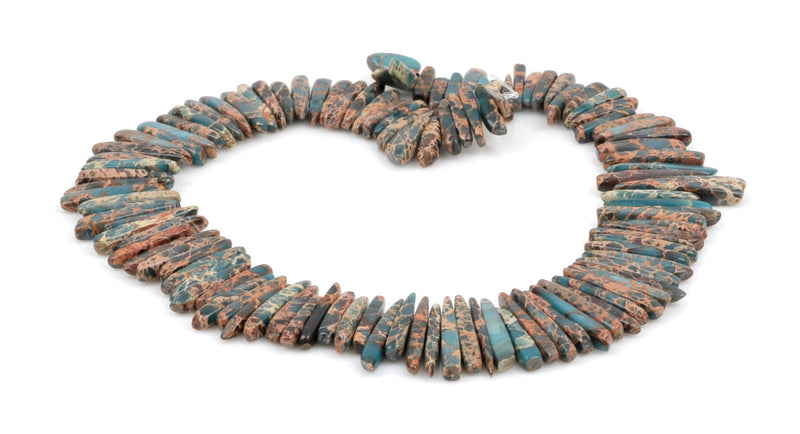 "Teal Blue Green AQUA TERRA JASPER Gemstone Stick Beads, 1/2"" to 1-1/2"" about 1/4"" wide, gemstone, full strand,  about 75 beads,  gja0092"