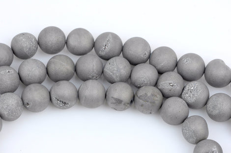 14mm DRUZY QUARTZ Round Beads, Titanium Coated Geode Round Beads, silver color,  full strand, about 27 beads, gdz0154