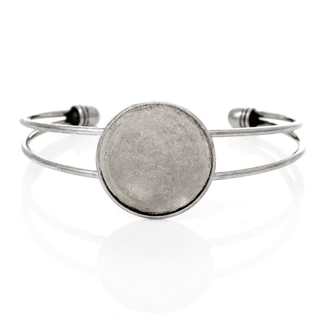 "1 BANGLE Cuff Bracelet with 25mm (1"") Round Bezel Tray, silver tone metal, for Cabochon Setting, 25mm (1 inch) fin0509a"