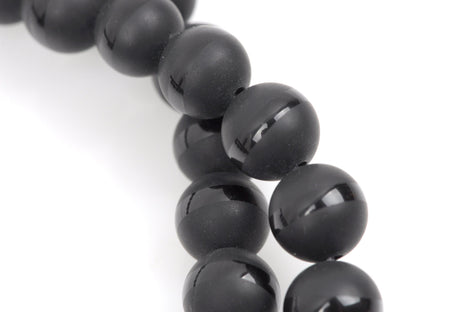 4mm BLACK ONYX Round Gemstone Beads, smooth gemstone beads, matte with a polished band around the middle, natural, full strand, gon0034