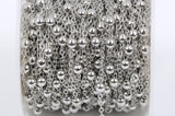 1 yard (3 feet) Silver Tone Ball and Link Chain, Bead Chain, Round Balls are 4mm, fch0332a