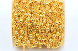 1 yard (3 feet) Gold Plated Ball and Link Chain, Bead Chain, Round Balls are 4mm, fch0334a