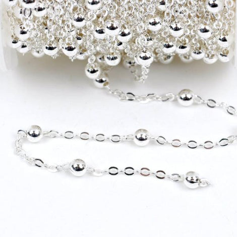 1 yard Silver Plated Ball and Link Chain, Bead Chain, Round Balls are 4mm, fch0333a