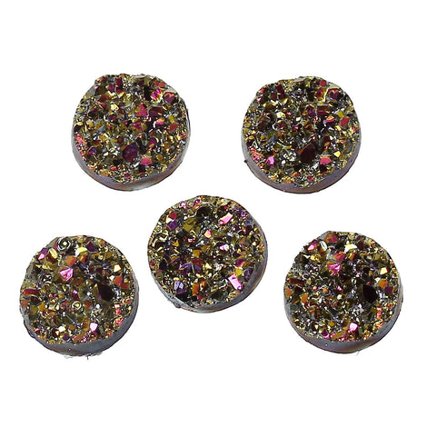 10 DRUZY CABOCHONS 12mm, Faux Druzy Cabochons, Round Resin Metallic AB Magenta, Gold with white back, cab0398a