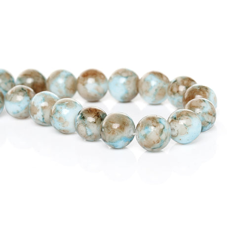 10mm Round Glass Beads, white with turquoise blue and brown marbeling, marble pattern, double strand, about 80 beads, bgl0020b