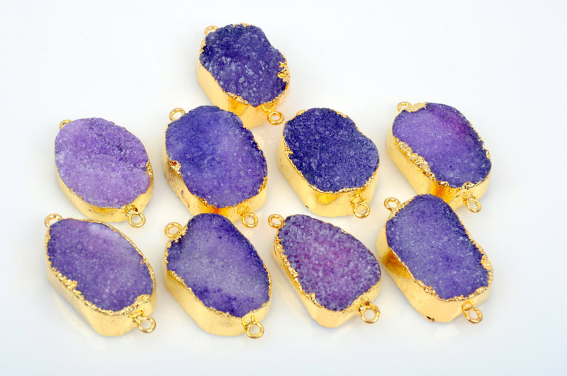 "5 PURPLE DRUZY Gemstone Connector Links, large raw druzy, double bails, Oval GOLD Plated Bezel, 1-3/4"" long  gdz0135"