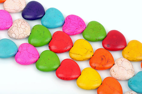12mm Howlite Heart Beads, Mixed Colors GEMSTONE PUFFY HEART Beads in Bright Colors, full strand, 36 beads per strand, how0680