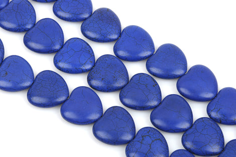 25mm Howlite Heart Beads, ROYAL BLUE, Puffy Heart Beads, Puffed Heart Beads, full strand, 17 beads per strand, how0653