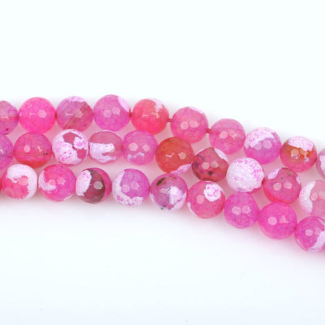 10mm Round STRAWBERRY PINK AGATE Beads, round faceted gemstone, full strand,  gag0208