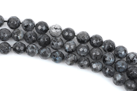 10mm BLACK LABRADORITE Beads, Round Gemstone Beads, Faceted, full strand, 36 beads per strand, glb0014