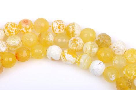 10mm YELLOW AGATE Round Beads, Agate Gemstone Beads, Faceted, full strand, 38 beads per strand, gag0222