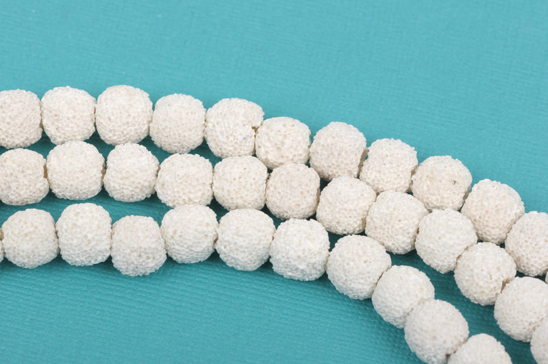 12mm White LAVA Beads, Round Perfume Diffuser Beads, Essential Oil Beads, full strand, 36 beads per strand, glv0006