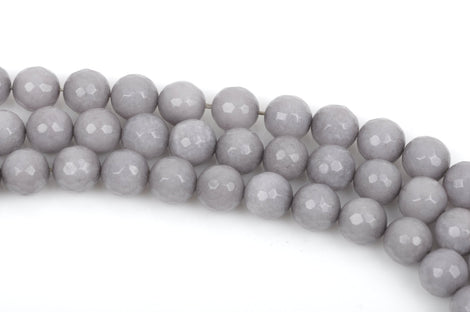 8mm HEATHER GREY JADE Beads, Round Gemstone Beads, Faceted, full strand, 47 beads per strand, gjd0157