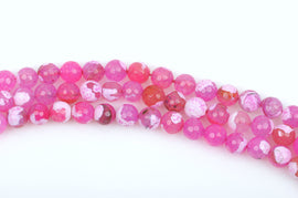 12mm Round STRAWBERRY PINK AGATE Beads, round faceted gemstone, full strand,  gag0207b