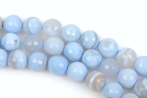 4mm Round FACETED, Pale BABY BLUE  Agate Beads,  Natural Gemstones, full strand, about 95 beads, gag0236