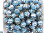 1 yard (3 feet) TURQUOISE BLUE Crystal Rondelle Rosary Chain, bronze, 8mm faceted rondelle glass beads, fch0351a