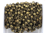 1 yard (3 feet) Bronze Round Bead Chain, Rosary Chain, Metal Ball Chain Beads are 4mm  fch0368a