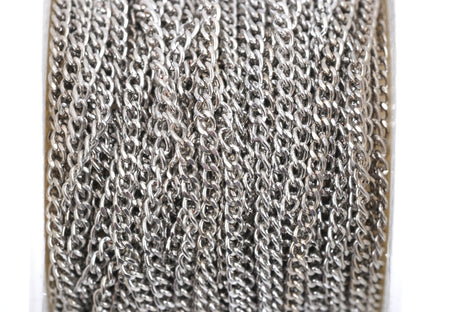 1 yard (3 feet) Silver Tone Curb Link Chain, links are 3x2mm  fch0343