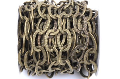 1 yard (3 feet) Bronze Oval Hammered Link Chain, links are 21x14mm  fch0347