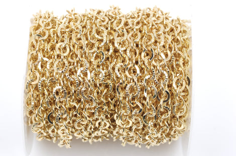 10 yards (30+ feet) Gold Round Textured Cable Link Chain, links are 6mm  fch0355b