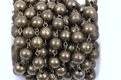 11 feet spool Bronze Round Bead Chain, Rosary Chain, Metal Ball Chain Beads are 10mm  fch0358b
