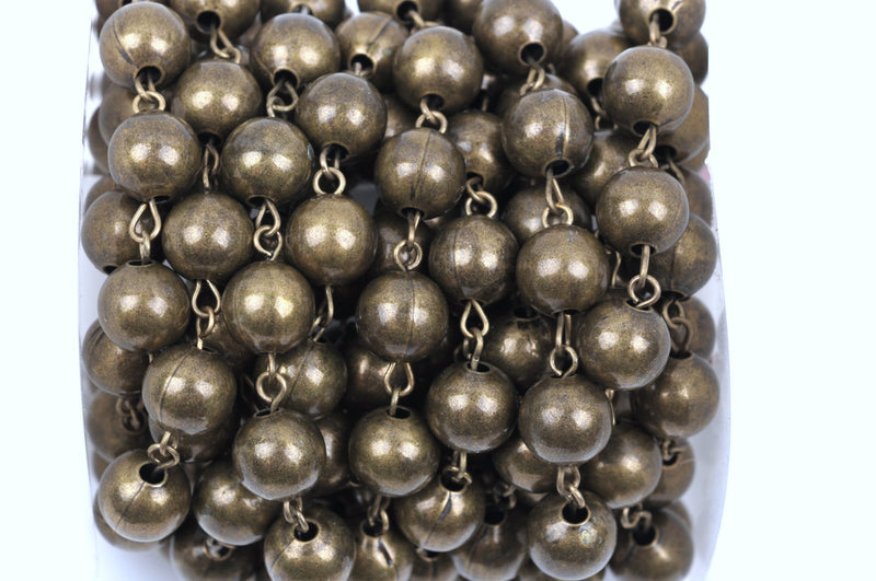 1 yard Bronze Round Bead Chain, Rosary Chain, Metal Ball Chain Beads are 10mm  fch0358a