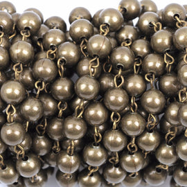 1 yard Bronze Round Bead Chain, Rosary Chain, Metal Ball Chain Beads are 8mm  fch0362a