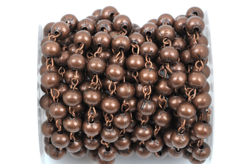 13 feet spool Copper Round Bead Chain, Rosary Chain, Metal Ball Chain Beads are 6mm  fch0364b