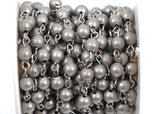1 yard (3 feet) Matte Silver Round Bead Chain, Rosary Chain, Metal Ball Chain Beads are 6mm  fch0366a