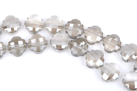 10 SHADOW GREY QUATREFOIL Crystal Glass Beads, electroplated on one side, checkerboard faceted,  20mm, bgl1353